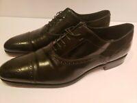 Salvatore Ferragamo Mens  Cap Toe Black Leather Dress Oxford Shoes 12 D
