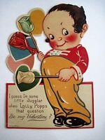 Vintage Mechanical Antique Valentine w/ Kewpie Like Boy Holding Lolly Popps*