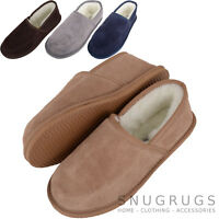 SNUGRUGS Mens / Gents Wool Lined / Sheepskin Slippers / Indoor Shoes