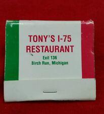 TONY'S I-75 RESTAURANT BIRCH RUN, MICHIGAN MATCHBOOK MATCHES COLLECTIBLE