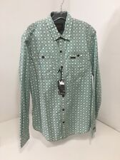 PME LEGEND MEN'S PRINT NICK L/S BUTTON UP SHIRT GREEN/WHITE LARGE $90 NWT