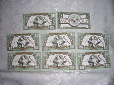 FRANKLIN MINT Collector's Monopoly 1991 Type 2 Replacement MONEY (8) $20.00 Bill