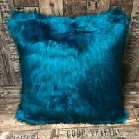 Pack Of 4 Turquoise Blue Fur Filled Cushion Cover 18x18 Bedroom / Living Room