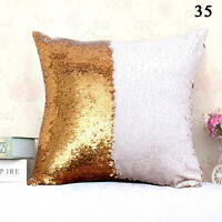 Double Color Reversible Sequin Glitter Sofa Cushion Cover Pillow Case Home Decor
