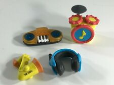 Gomu Eraserland Collectible Erasers LOT of 4 - MUSIC theme Drums Sax keyboard