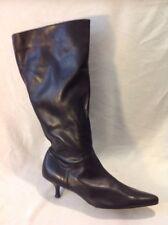 Viva La Diva Black Knee High Leather Boots Size 7