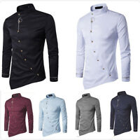 Korean Men's Casual Slim Fit Luxury Fashion Long Sleeve Dress Shirts Tops new