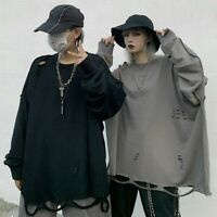 Men's Long Sleeve Gothic Punk Cargo Shirts Hippie Loose Streetwear Blouse Top US
