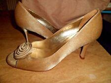 ARTIGIANO Gold Peep Toe Shoes UK 8 EU 41 Brand New