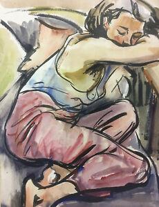 Aquarell von Arthur Rappl, ruhende Frau auf dem Sofa