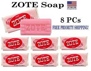 ZOTE Pink Laundry Soap Washing Clothes 7oz Bars Detergent Kitchen Jabon- 8 PCS!