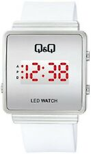 Q&Q by Citizen M103J003Y  White Band LED with Red Day and Date Watch