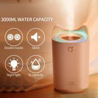 3000ML Ultrasonic Air Humidifier USB LED Aromatherapy Night Light Mist Purifier