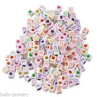 1000 Neu Mix Acryl Würfel Buchstaben Spacer Perlen Beads Basteln 6x6mm