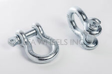 """Pair 7/8"""" Clevis Screw Pin Anchor Bow Shackle D-Ring Nickel Plated 14000 lbs"""