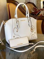 NWT MICHAEL KORS STUDDED LARGE CIARA SATCHEL/WALLET OPTIONS OPTIC WHITE LEATHER