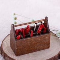 Sn _ Casa de Muñecas Miniatura Herramienta Kit Madera Caja Metal Martillo