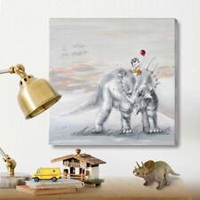 Dinosaur Wall Art for Kids Room Hand-Painted Animal Oil Painting Baby Girl Room
