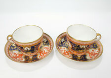 2 Antique Spode Porcelain Dollar Tree Pattern Cups & Saucers - Imari 715 - PC