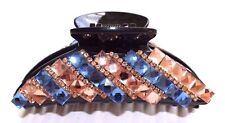 Brand New Black Hair Clip Claw With Blue and Peach Rhinestone and Crystals