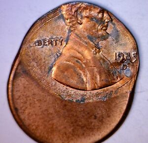 1985d ERROR Off Center Lincoln Cent Coin BU + 'D' DENVER MINT O/C LOT #1  NR