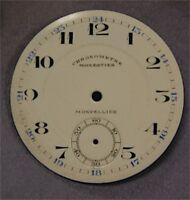 Cadran Fond de Montre à Gousset Email Emaillé Ancien Monpellier Chronomètre 52