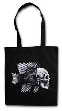Fish Skull Shopper Shopping Bag fishing Fisher Gone fishing rod pole sea River