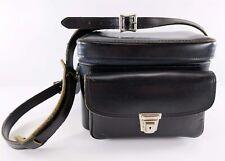 Plainsman 2 Vintage Black Leather Shoulder Camera Bag, Carrying Case