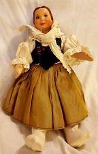 "Vintage Antique Czech Czechoslovakian Costume Doll 12"" Ceramic Head Cloth Body"