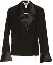 "METROstyle Ladies 2 Pc ""Satin"" Collar & Cuffs Skirt Suit ~ Black ~ Size 6"