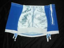 Vtg Satin Panels Open Bottom Girdle Plus Size 42 6X Metal Garters Zipper Blue
