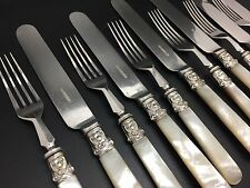 12 Pieces Antique Sterling Silver Collared Mother of Pearl Knives & Forks (RF560