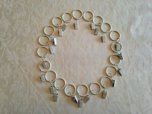 20 x Metal Cream Curtain Hanging Pincer Clip Rings for Nets Shears Voile