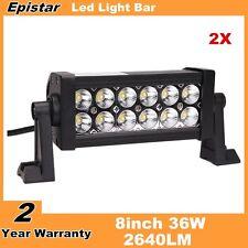 """2X 8"""" inch 36W LED Work Light Bar Flood lights For Boat Jeep SUV ATV UTE 12V24V"""