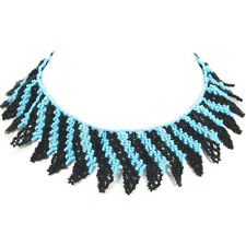 HANDMADE BLUE BLACK BEADED NATIVE  STYLE INSPIRED CHOKER/COLLAR NECKLACE