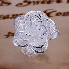 Lowest price wholesale solid silver fashion flower ring +box DR18