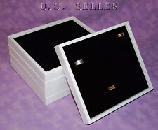 Set Of 5 White Stackable Trays With Black 36 Ring Inserts