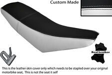 BLACK & WHITE CUSTOM FITS SUPERBYKE RMR 125 DUAL LEATHER SEAT COVER ONLY