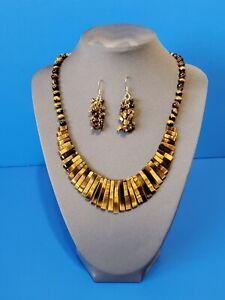 Vintage Set Tiger's Eye Bib Necklace And Cluster Dangle Earrings
