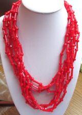 collier bijou vintage 7 rangs de perles tube résine rouge vif attache caché 1704