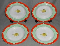 Set (4) Lynn Chase MONKEY BUSINESS PATTERN Rimmed Soup Bowls