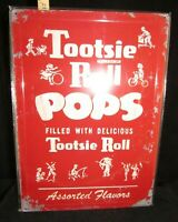 Tootsie Roll Pops Embossed Metal / Tin Sign Vintage Look Reproduction, Brand NEW