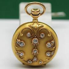 1905's LONGINES 18K SOLID YELLOW GOLD DIAMOND MANUAL WIND PENDANT & POCKET WATCH