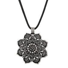 Lotus Flower Buddhist Necklace Om Mandala Pendant Silver Buddha Tibetan Yoga
