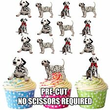 PRECUT Dogs Dalmatian Puppy 12 Edible Cupcake Toppers Birthday Cake Decorations