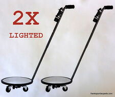 2x Convex Inspection Mirrors with Wheels & Light #P-120IMLW