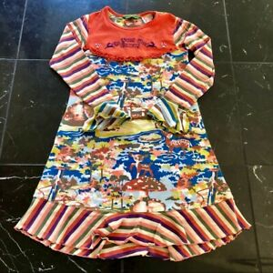 Girl's Oilily Forest Wood Company Dress Sz 128 (US 7-8)