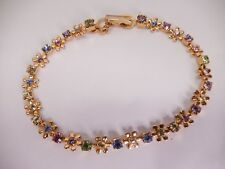 "Signed Swarovski Bracelet Narrow Pastel Crystal Flower Gold Plated 7.5"" B352"