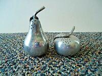 Vintage Set of Fruit Shaped Pewter ? Silver Plated ? Salt & Pepper Shakers