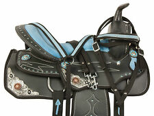 USED BLUE 14 15 16 WESTERN BARREL RACING PLEASURE TRAIL SHOW HORSE SADDLE TACK